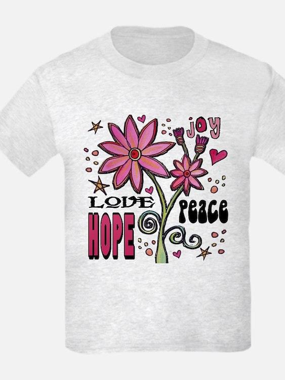 Peace Love Hope Flower T-Shirt