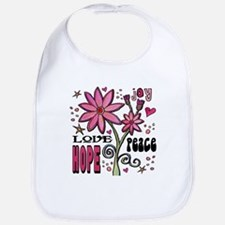 Peace Love Hope Flower Bib