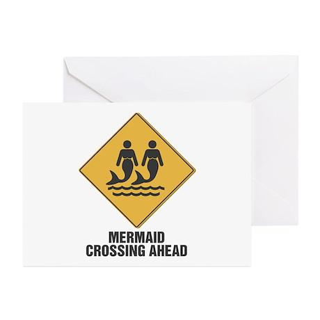 Mermaid Crossing Ahead Greeting Cards (Pk of 10)