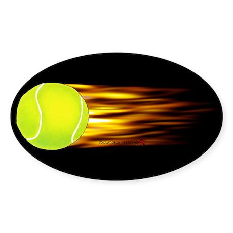 Tennis Flames Oval Sticker
