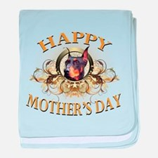 Happy Mother's Day Doberman baby blanket