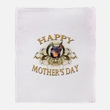Happy Mother's Day Doberman Throw Blanket