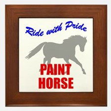 Ride With Pride Paint Horse Framed Tile