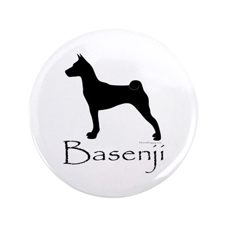 "Basenji Silhouette 3.5"" Button"