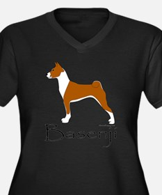 Red and White Basenji Women's Plus Size V-Neck Dar