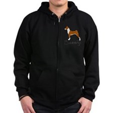 Red and White Basenji Zip Hoodie