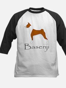 Red and White Basenji Kids Baseball Jersey