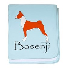 Red and White Basenji baby blanket