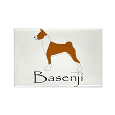 Red and White Basenji Rectangle Magnet