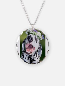 Smiling Dalmatian Dog Necklace Circle Charm