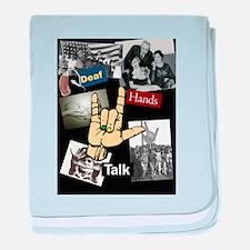 Deaf hands talk baby blanket