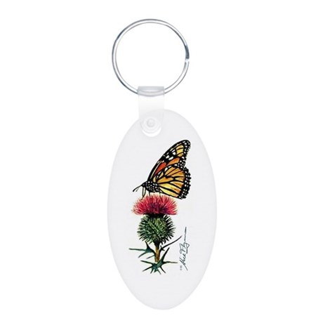 Nature Watercolor Aluminum Oval Keychain