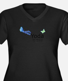 Yoda Fingerspelled Women's Plus Size V-Neck Dark T