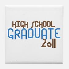 High School Graduate 2011 (Retro Blue) Tile Coaste