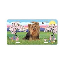 Blossoms - Yorkie 7 Aluminum License Plate