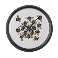 Bee Gathering Large Wall Clock