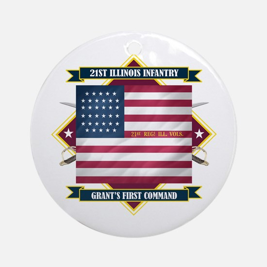 21st Illinois Infantry Ornament (Round)