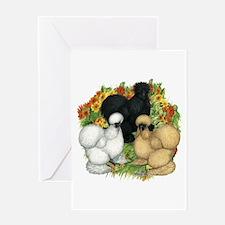 Flower Garden Silkies Greeting Card