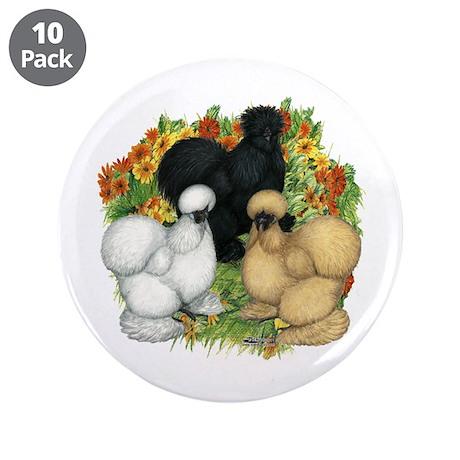 """Flower Garden Silkies 3.5"""" Button (10 pack)"""