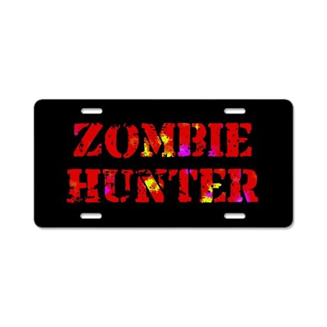 Zombie Hunter Aluminum License Plate