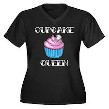 Cupcake Queen Women's Plus Size V-Neck Dark T-Shir