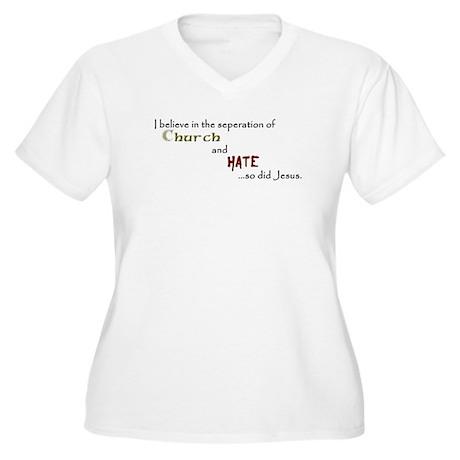 Church/Hate Women's Plus Size V-Neck T-Shirt