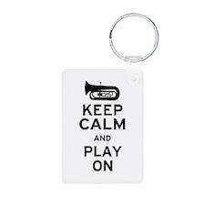 Keep Calm Tuba Aluminum Photo Keychain