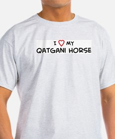 I Love Qatgani Horse Ash Grey T-Shirt