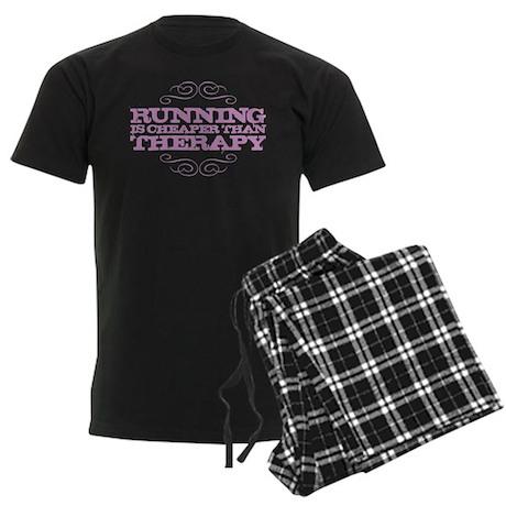 Running is Cheaper than Thera Men's Dark Pajamas