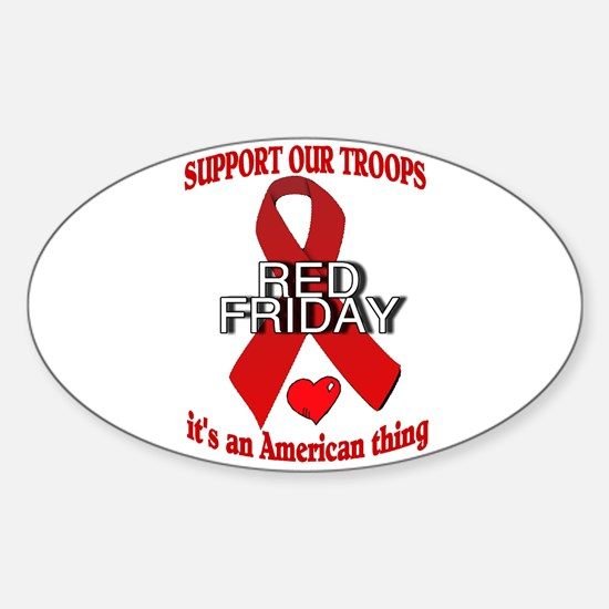 red friday with ribbon Sticker (Oval)