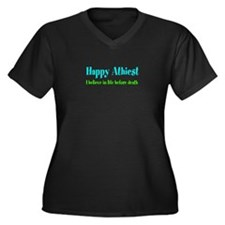 Cute Happy humanist Women's Plus Size V-Neck Dark T-Shirt
