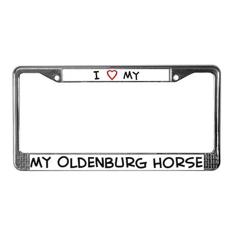I Love Oldenburg Horse License Plate Frame