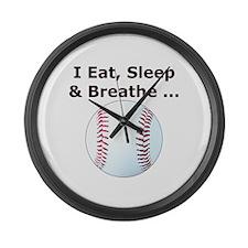 Baseball Eat Sleep Breathe Large Wall Clock