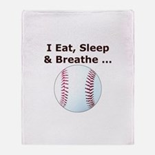 Baseball Eat Sleep Breathe Throw Blanket