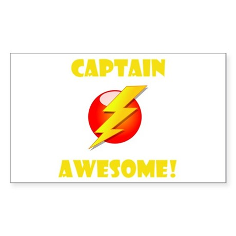 Captain Awesome! Sticker (Rectangle 10 pk)