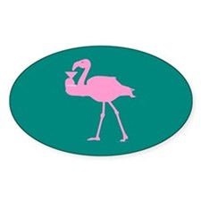Pink Flamingo with Martini on Teal Oval Stickers