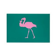 Pink Flamingo with Martini on Teal Rectangle Magne