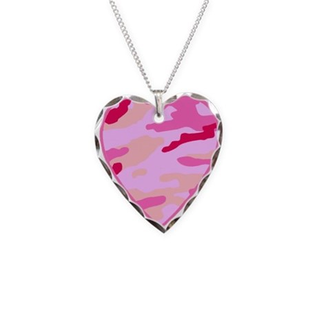 Pink Camo Heart Necklace Heart Charm