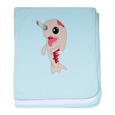 Zombie Narwhal baby blanket