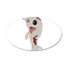 Zombie Narwhal 22x14 Oval Wall Peel