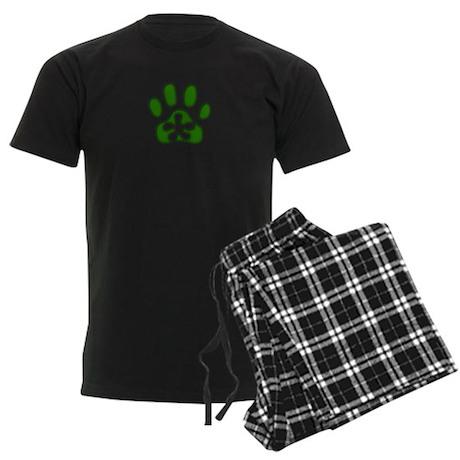 Green Pawprint Men's Dark Pajamas