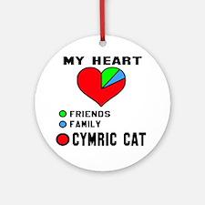 My Heart Friends Family Cymric Cat Round Ornament