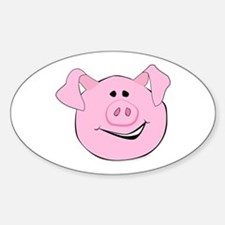 Smiling Pig Face Oval Decal