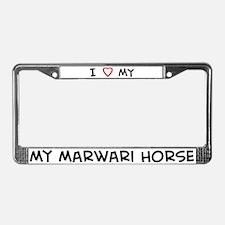I Love Marwari Horse  License Plate Frame
