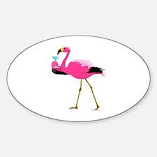 Pink Flamingo Drinking A Martini Sticker (Oval)