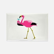 Pink Flamingo Drinking A Martini Rectangle Magnet