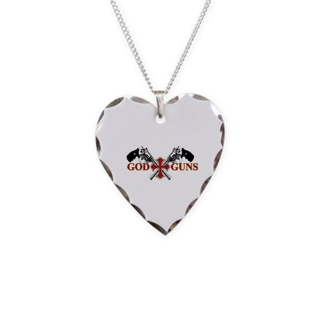 God and Guns Necklace Heart Charm