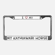 I Love Kathiawari Horse License Plate Frame