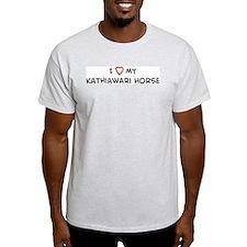 I Love Kathiawari Horse Ash Grey T-Shirt