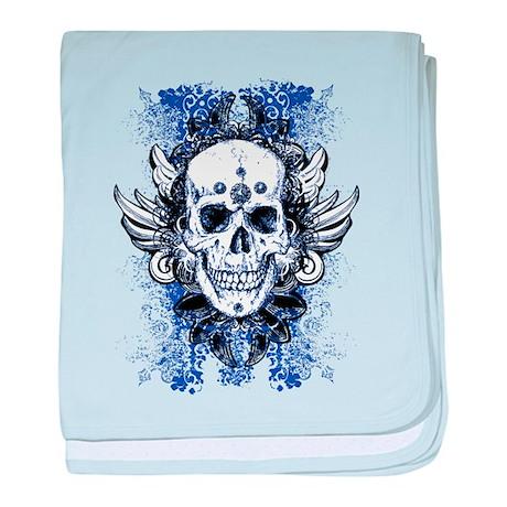 Skull blue grungy baby blanket